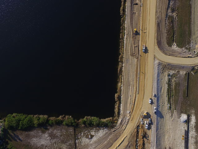 road work aerial surveying with a drone