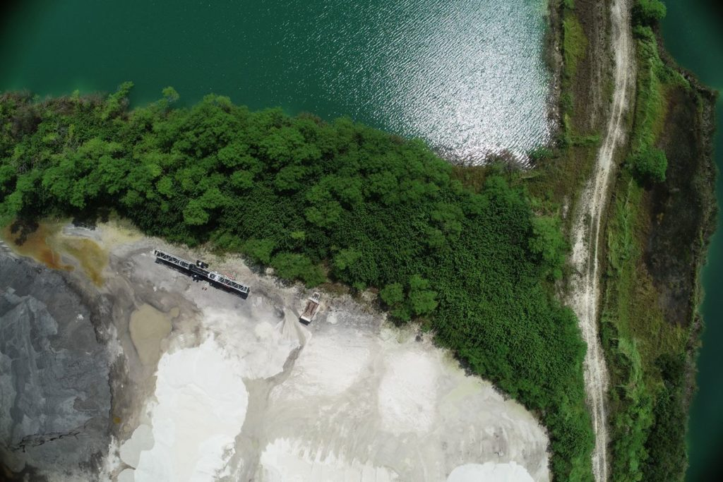 Aerial Drone Photography of a mining site with stock piles in Punta Gorda, Florida
